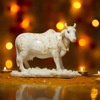 Marble Kamdhenu Cow with God Figurines