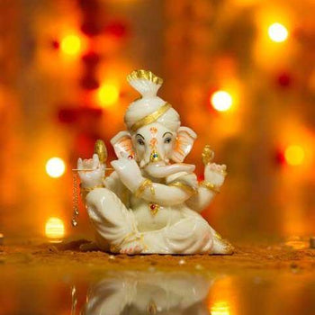 Handcrafted Lord Ganesha Marble Statue with Detachable Flute