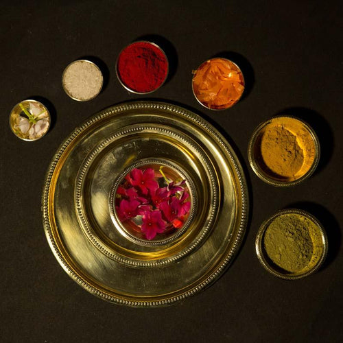 Traditional Brass Pooja Thali (Set of 9)