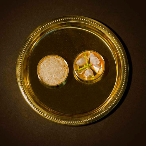 Traditional Brass Pooja Thali (Set of 3)