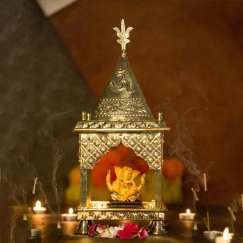 Stunning Handcrafted Traditional Brass Sheet Temple with Trishul