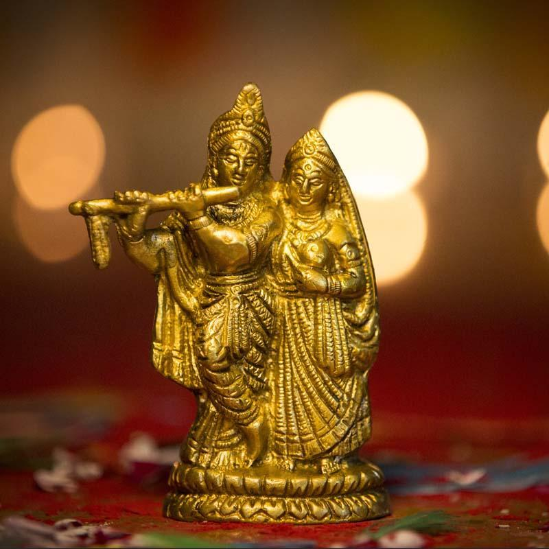 Beautiful Brass Radha Krishna Idol