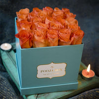Peach Roses - Tiffany Blue Flora Box