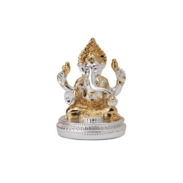 Silver Plated Ganesha with Round Base