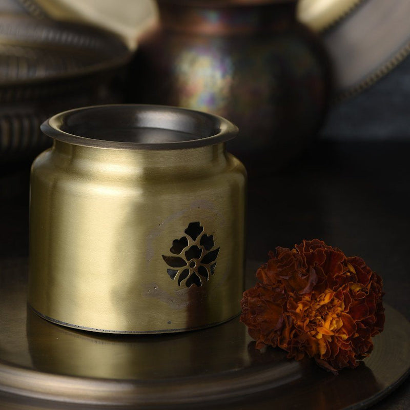 Antique Handcrafted Brass Angithi Aroma Diffuser Pot