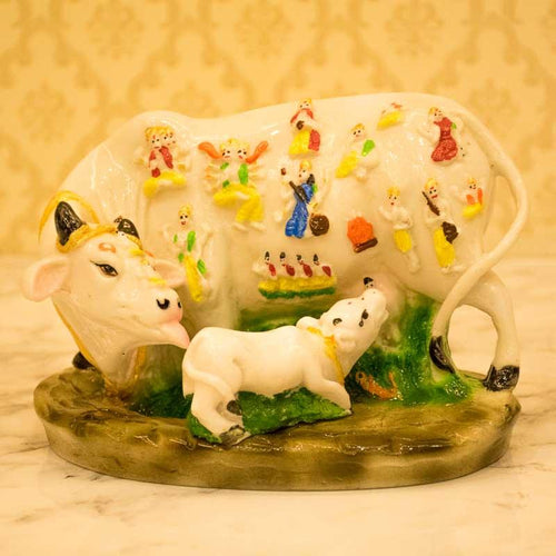 Heavenly White Polyresin Kamdhenu Cow with Calf