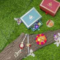 Beautiful Petite Box with 5 gms Silver Coin Rakhi & Chocolates