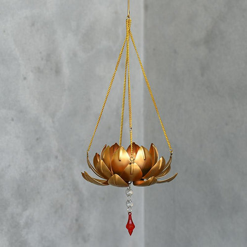 Sparkling Golden Metal Lotus Flower Tealight Holder Hanging