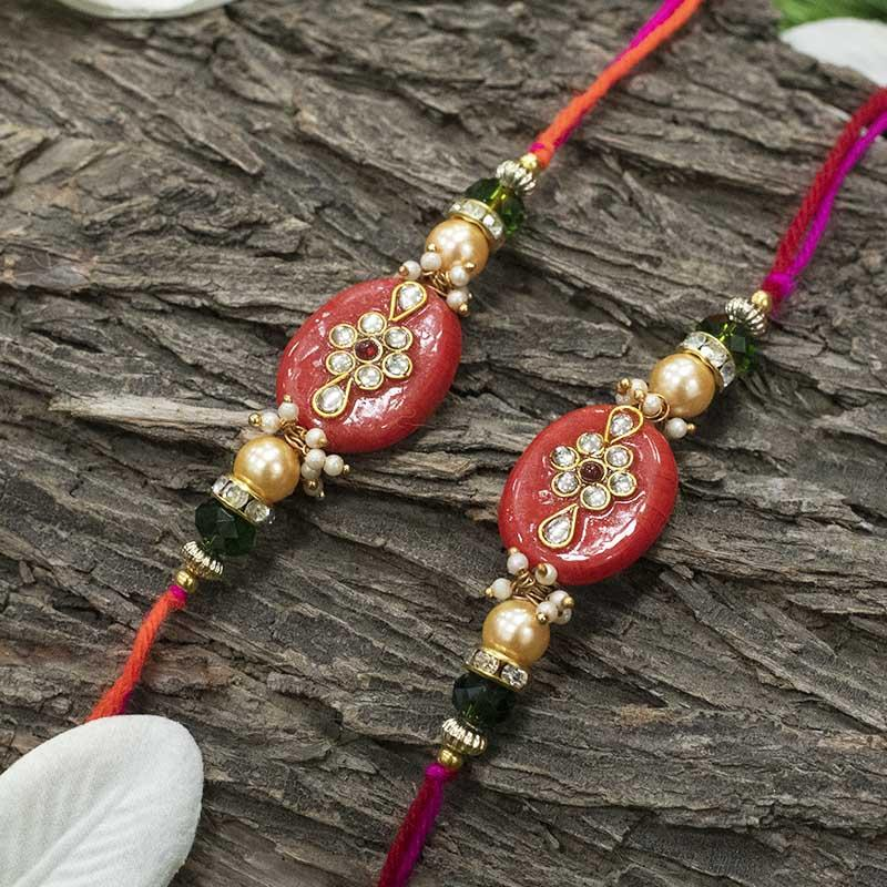 Elegant Kundan Rakhi (Set of 2)