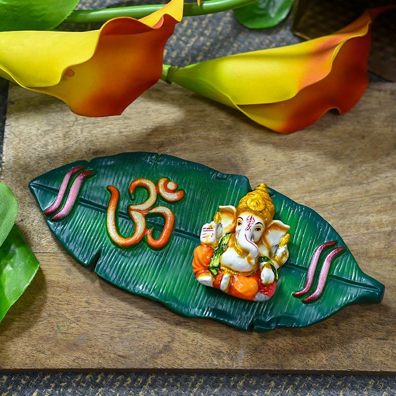 Banana Leaf Lord Ganesha Wooden Door Wall Hanging