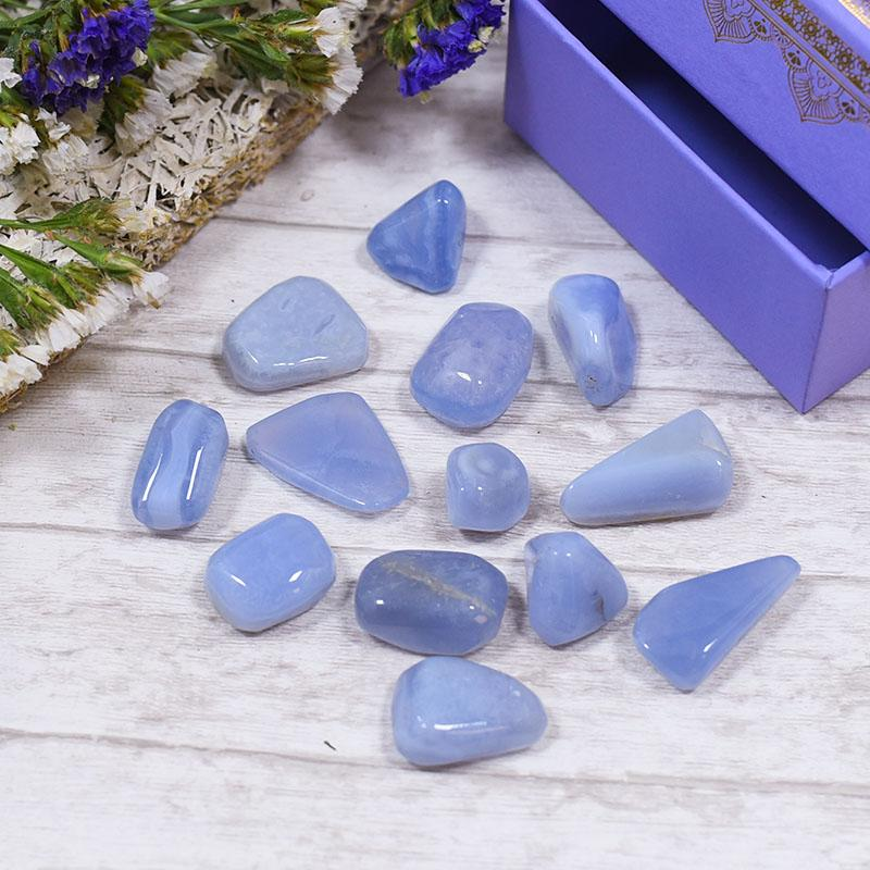 Blue Lace Agate Crystal Healing Tumble Stone Set