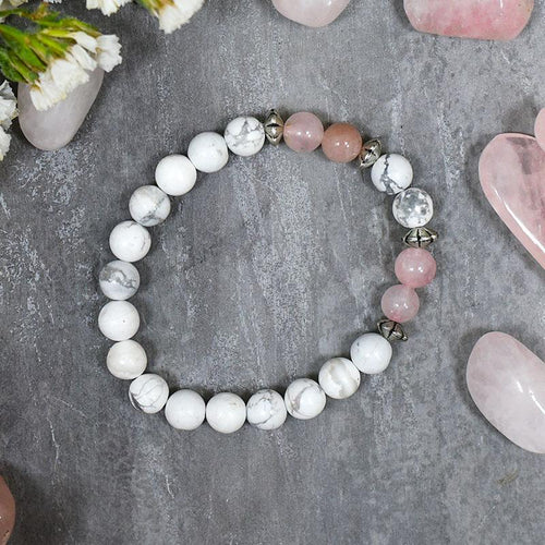 Rose & Howlite Bracelet⎮Stone for Love, Peace & Relationship