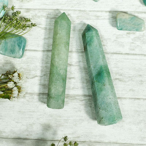 Green Jade Tower/Pencil (Set of 2) for Health, Wealth & Luck