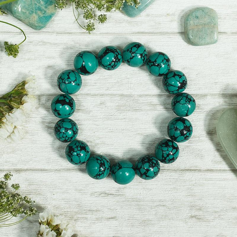 Turquoise/ Firoza Gemstone Protection 15 Bead Band/Bracelet