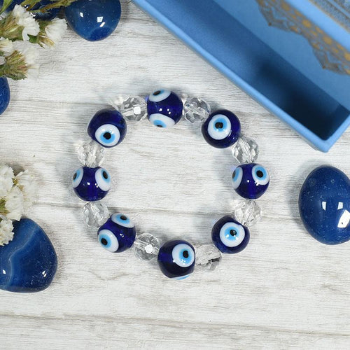 Feng Shui Turkish Evil Eye and Diamond Cut Clear Quartz