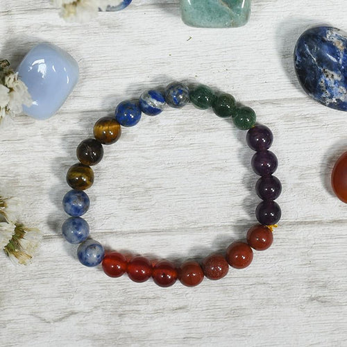 7 Chakra & Tiger Eye Bracelet⎮Stone of Courage
