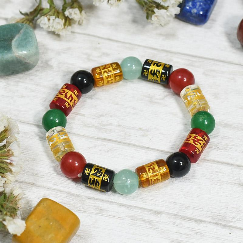 Om Mani Padme Hum Roll Bead Bracelet⎮Good Luck & Peace