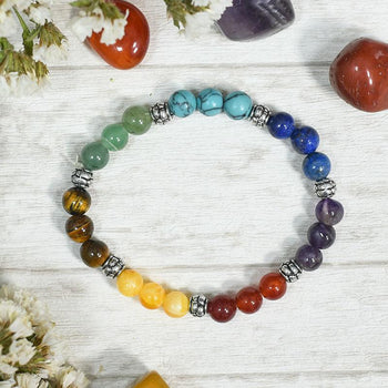 Multicolour Reiki Crystal Gemstone Chakra Healing Band