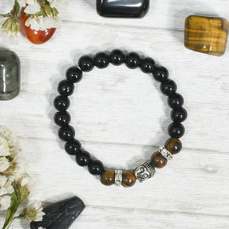 Patience and Abundance, Onyx and Tiger's Eye Guru Bead Band/Bracelet