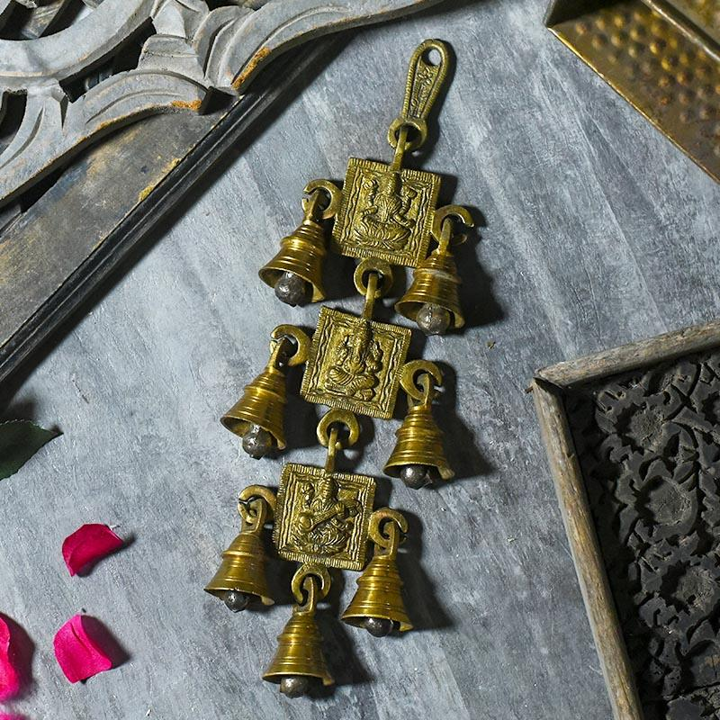Antique Brass 7 Bells With Laxmi Ganesh Saraswati Figuring