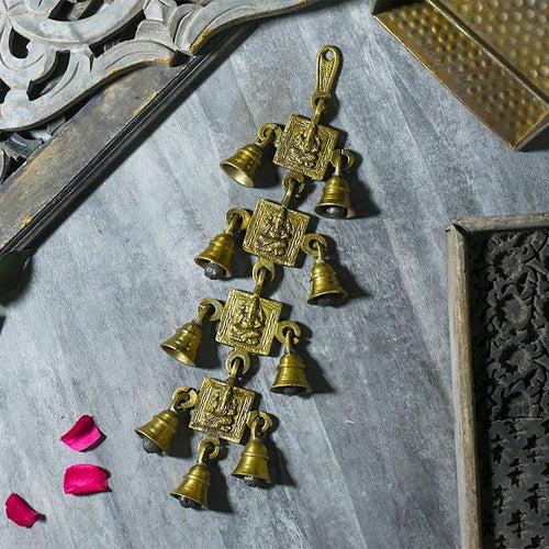 Antique Brass 9 Bells With Ganesha Figurine
