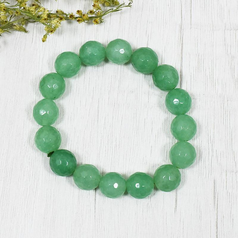 Green Jade Bracelet for Good Luck, Friendship, Cleansing