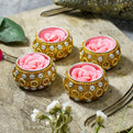 Rose Flower Tealight Candles (Set of 4)