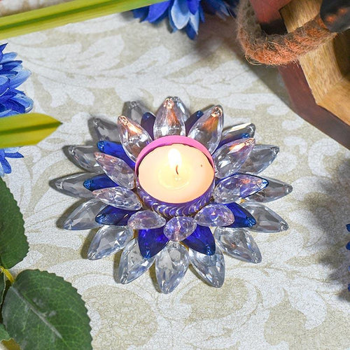 Blue and White Crystal Floral Tea-Light Candle Holder