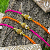 Modern Chic Golden Rakhi Set of 3