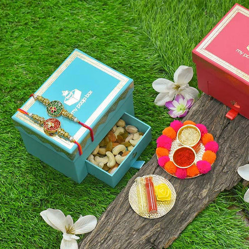 Ruby Red & Emerald Green Bhaiya Rakhi Box