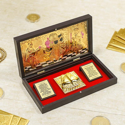 24K Gold Foil Shrinathji Pooja Box