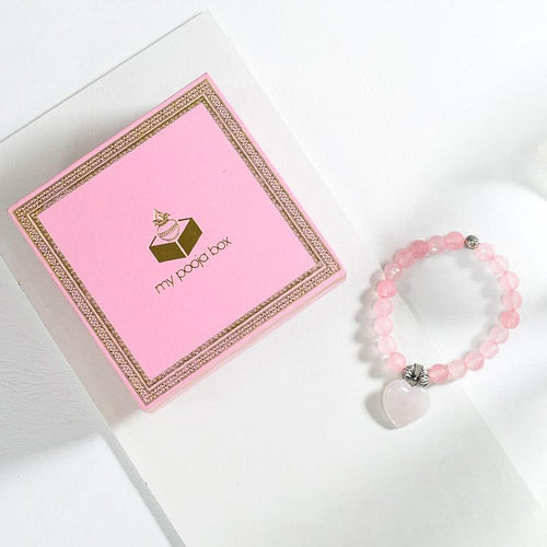 Rose Quartz Bracelet with Heart Charm