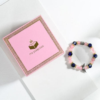 Rose Quartz & Evil Eye Bracelet with Buddha and Angel Wings Charm