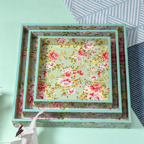 Floral Teal Green Serving Tray-Set of 3