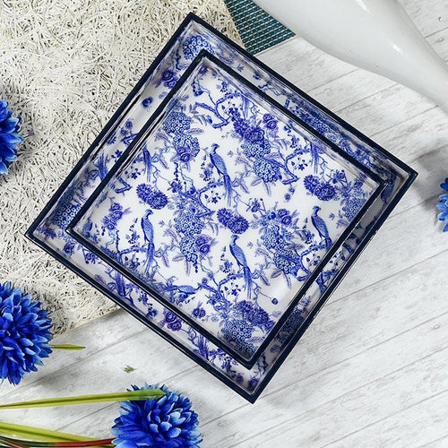 Serene Blue Serving Trays - Set of 2