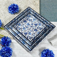 Blue Floral Serving Tray Set of 3