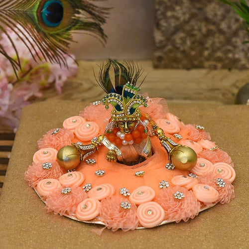 Attractive Peach Krishna Poshak
