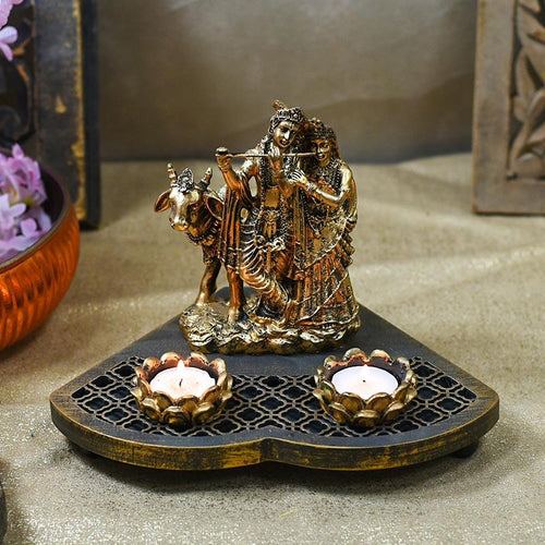 Stunning Radha Krishna Wooden Candle Holder Showpiece