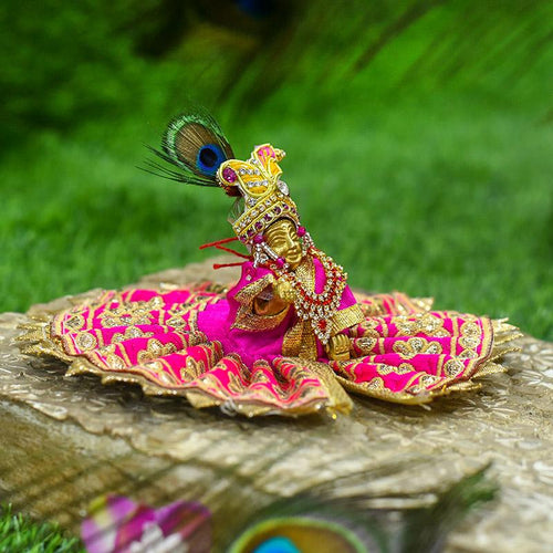 Golden Embellished Laddu Gopal Dress