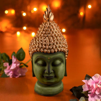 Majestic Golden Green Buddha Face Figurine