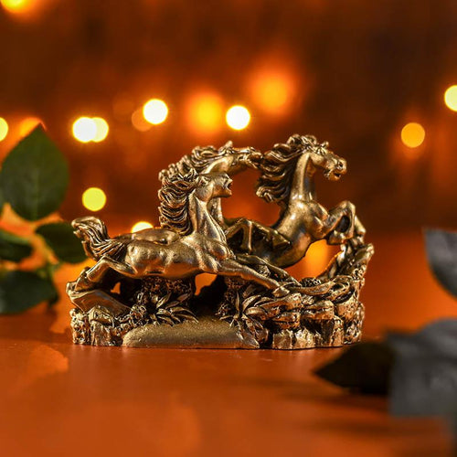 Feng Shui Three Running Golden Horses for Victory Showpiece