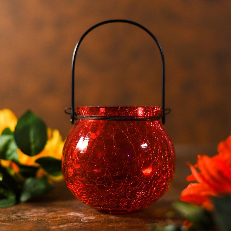 Impressive Red Crackled Glass Lantern Tealight Holder