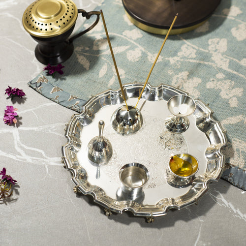 Silver Finished Pooja Thali Set