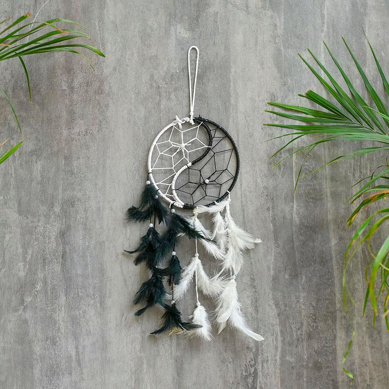 White Black Yin Yang Dream Catcher
