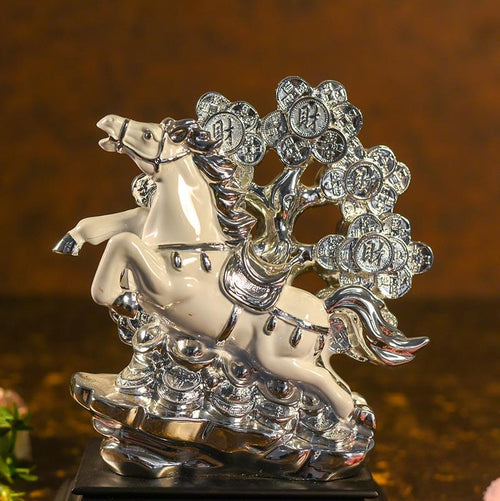 Antique White Horse with Money Tree