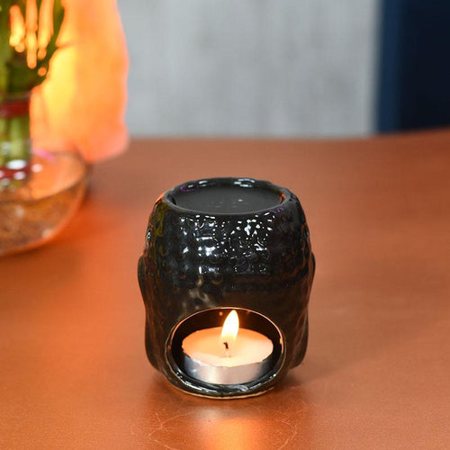 Impressive Meditating Buddha Aroma Diffuser Tealight Holder Black