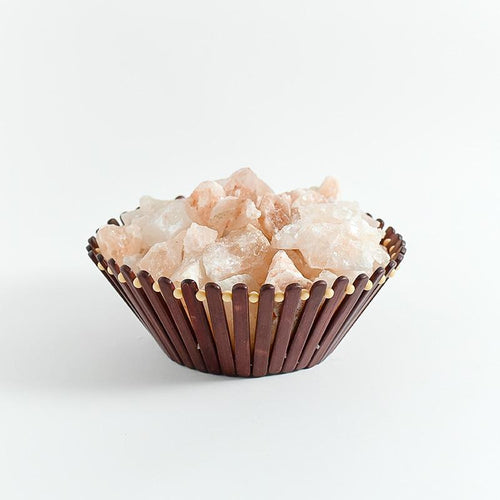 Himalayan Pink Salt Crystals in Wooden Stick Basket