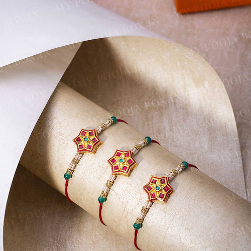 Stellate Red & Green Rakhi (Set of 3)