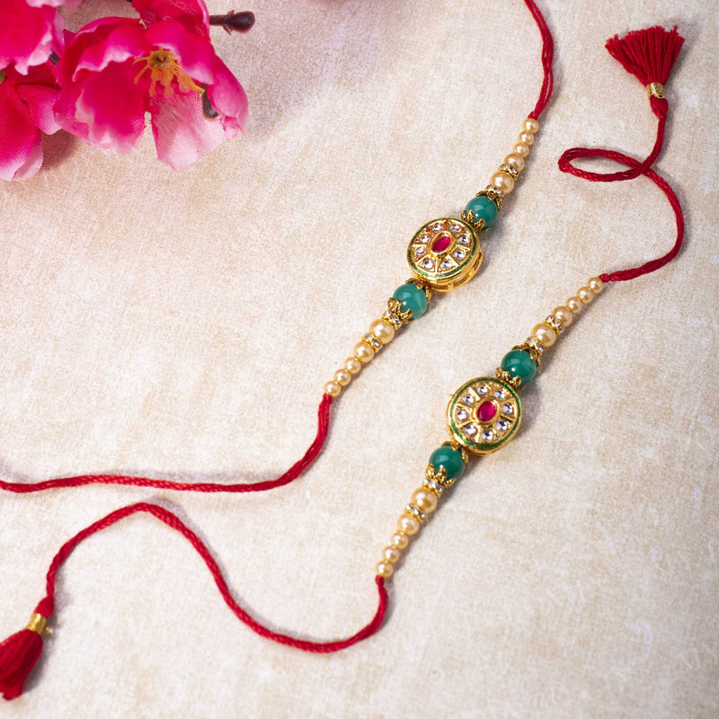Vibrant Green & Red Jewel Rakhi (Set of 2)