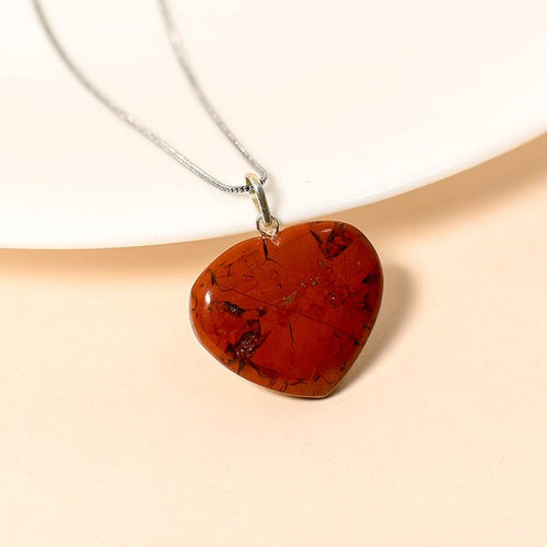 Red Jasper Heart Pendant Necklace for Protection